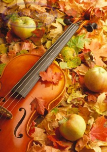 Fiddle in fall foilage (and apples).