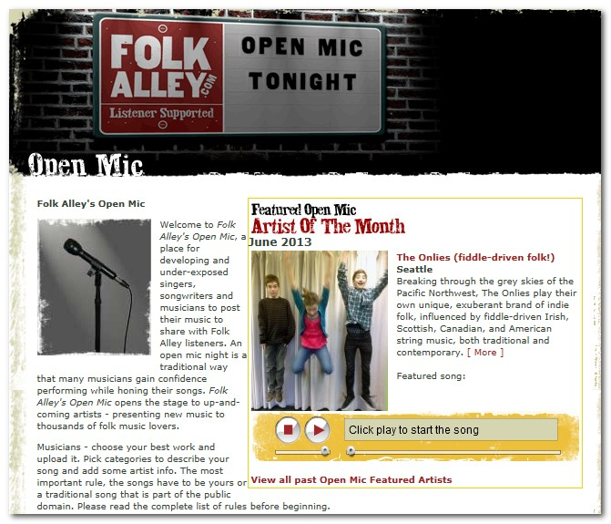 Onlies are Folk Alley's Open Mic Artist of the Month, June 2013!