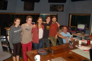 LtR, RuthMabel, Leo, Sami, Leo, Tristan, and Pat, minutes after the last track was recorded, long after midnight...